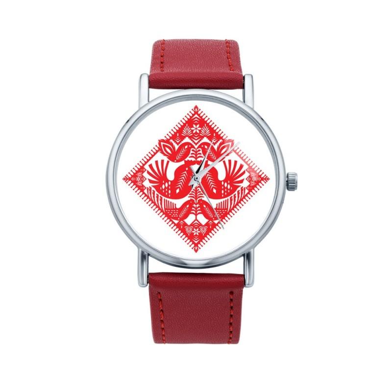 Folk zegarek kurpie czerwone