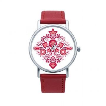 Folk zegarek kujawy czerwień