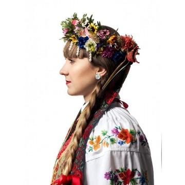 Kolczyki sztyfty folk kwiaty