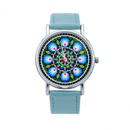 Folk zegarek wycinanka z błękitem