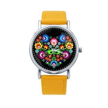 Folk zegarek łowicz serce żółty