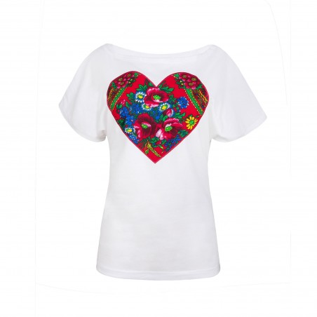 Folk koszulka serce biała
