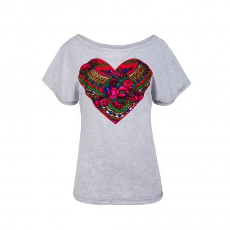 Folk koszulka serce szara