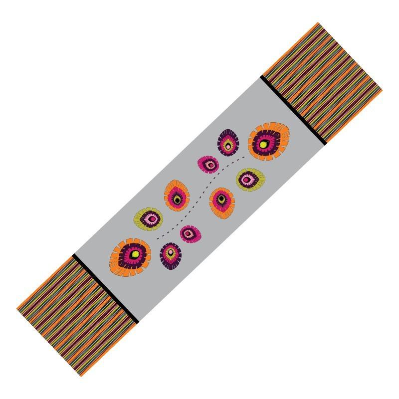 Bieżnik folk elements szary 40 x 200