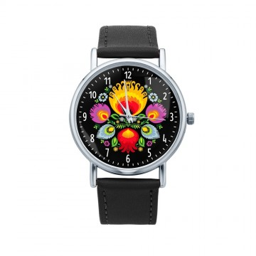 Folk zegarek łowicz bukiet czarny