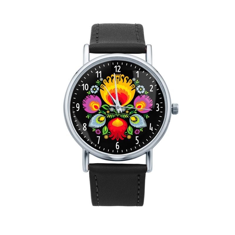 Kokofolk - Folkowy zegarek na rekę łowicz bukiet, łowicka wycinanka