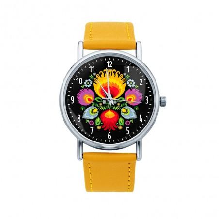 Folk zegarek łowicz bukiet żółty
