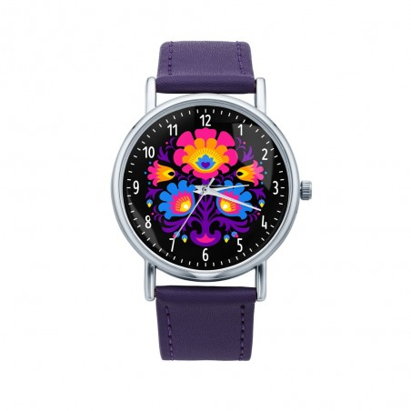 Folk zegarek łowicz bukiet fiolet