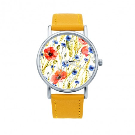 Folk zegarek maki żółty