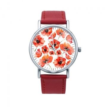 Folk zegarek maki czerwień