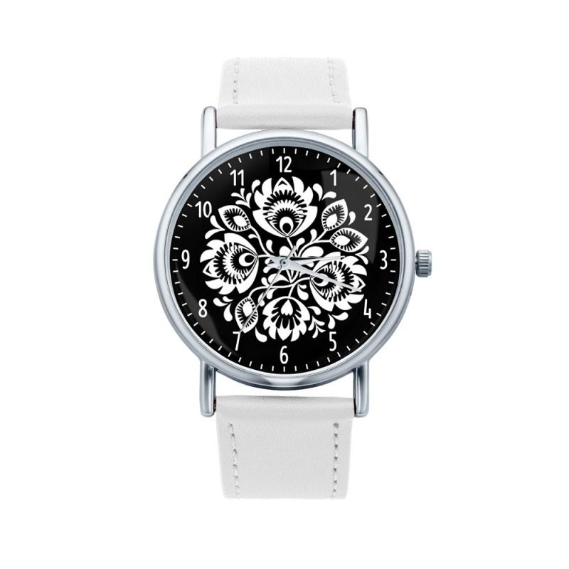 Folk zegarek łowicz czarno- biały
