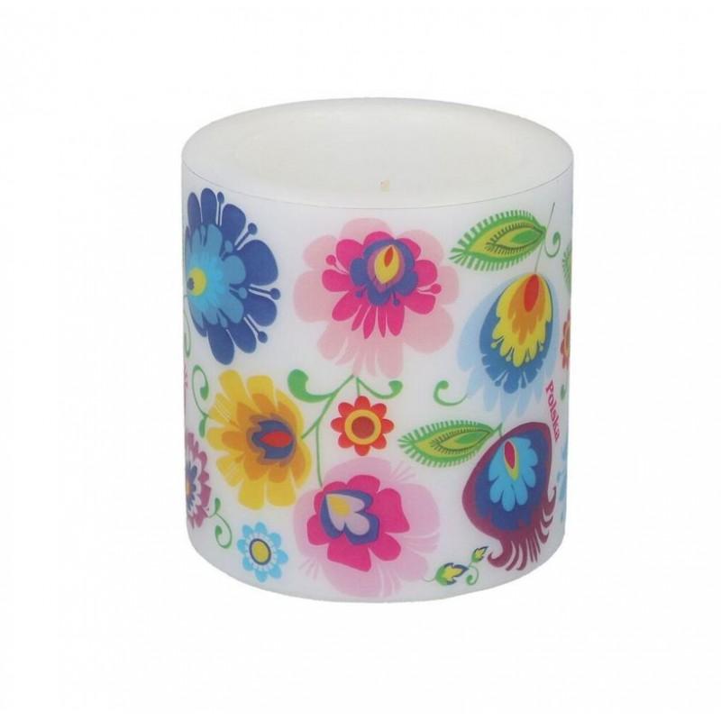 Kokofolk- Ludowa świeczka z łowickim wzorem kwiatowym