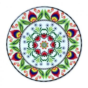 Podstawka ceramiczna pod garnek łowicz biała