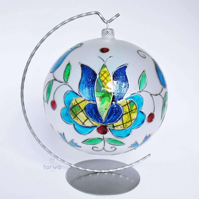 Folkowa ręcznie malowana bombka kaszuby 15 cm