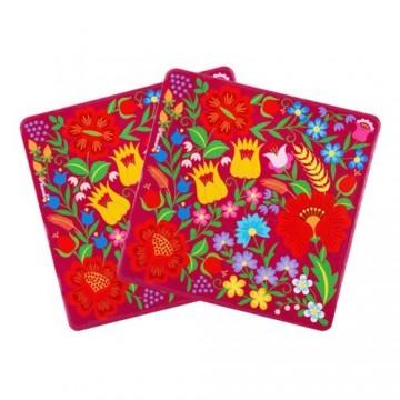 Kokofolk - podkładki pod kubek krakowskie kwiaty- ludowe wzory kwiatowe