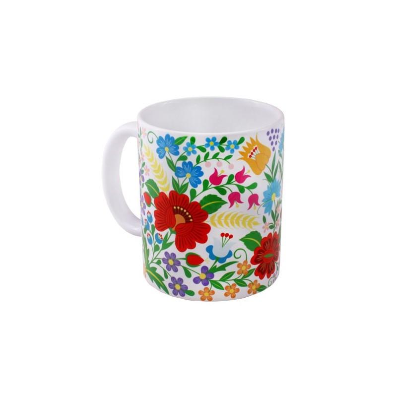 Kokofolk - Folkowy kubek krakowskie kwiaty, ludowy motyw kwiatowy