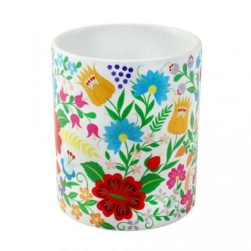 Folk kubek krakowski kwiaty