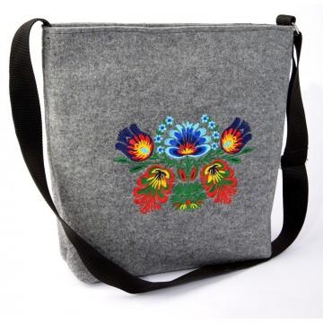 Filcowa  torba haft ludowy kwiat