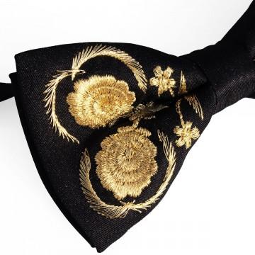 Mucha czarna haft kaszubski złoty