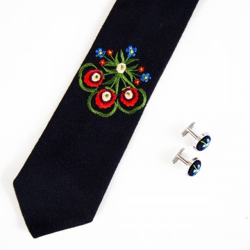 Zestaw krawat i spinki haft krakowski szary