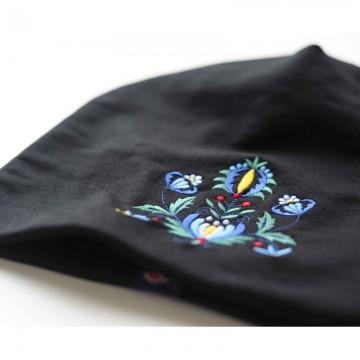 Folk czapka haft kaszubski czarna