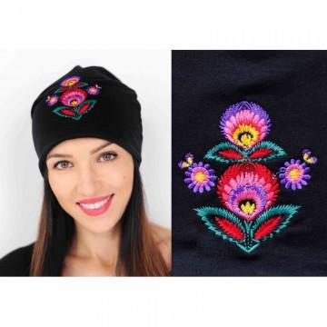 Folk czapka haft łowicki czarna