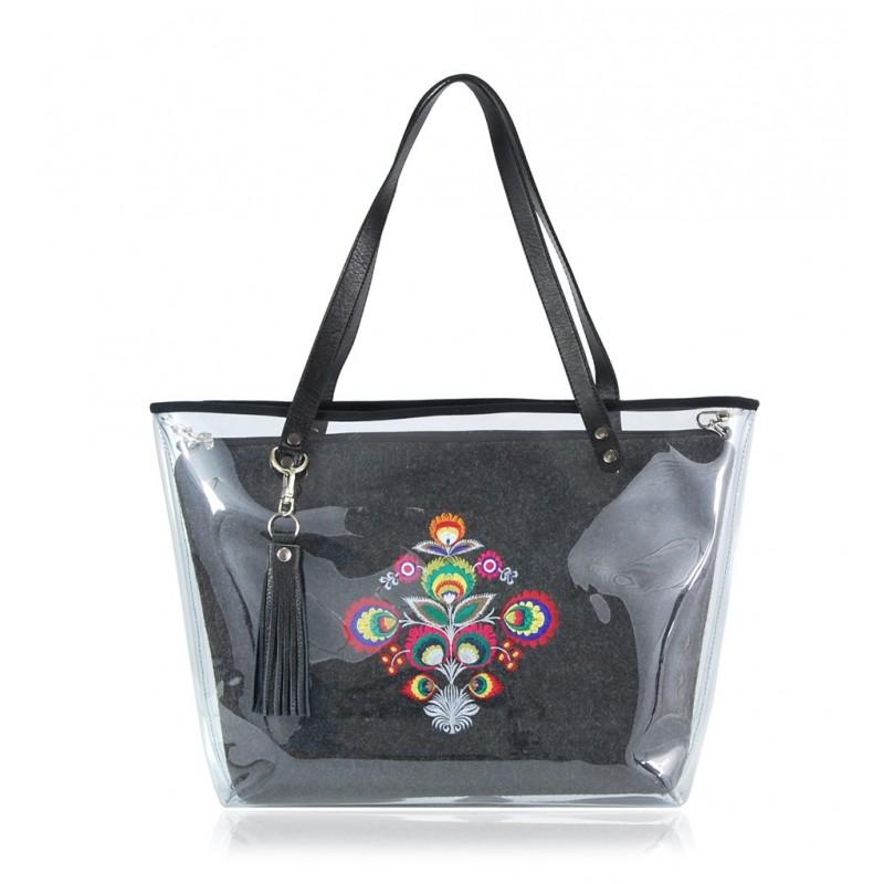 Filcowa torba farbotka 2313 ciemna, haft ludowy