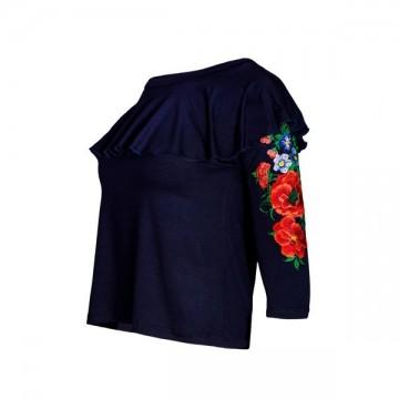 Bluzka z haftem ludowe kwiaty z falbanką