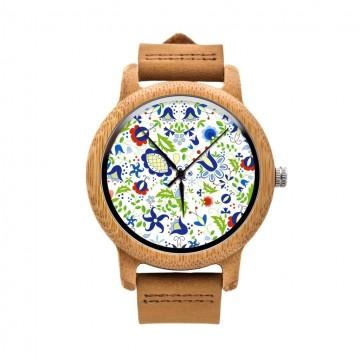 Drewniany zegarek na rękę wzory kaszubskie