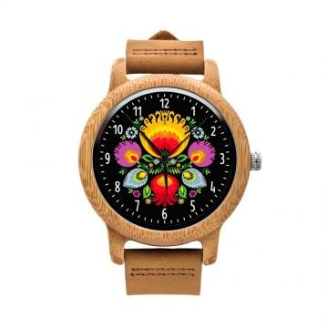 Drewniany zegarek na rekę ludowa wycinanka - łowicki wzór