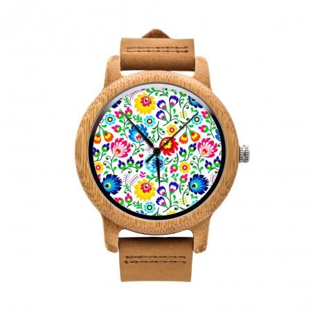 Drewniany zegarek na rekę łowickie kwiaty