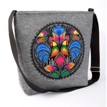 Filcowa torba z haftem ludowy kogut jasna