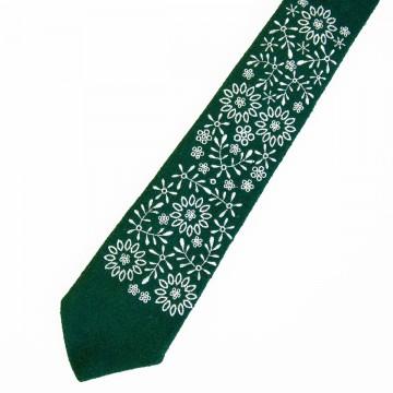 Folk krawat zielony haft krakowski