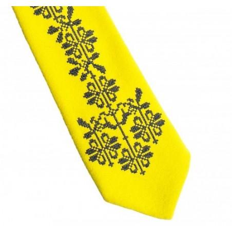 Folk krawat żółty haft opoczyński