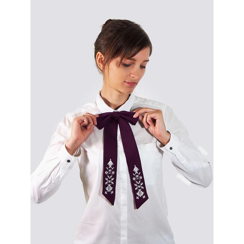 Folkowa mucha z krawatem haft kaszubski