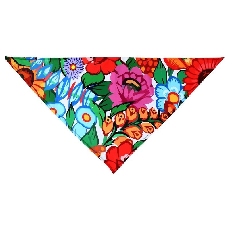 Folkowa chusta malowane kwiaty Zalipie