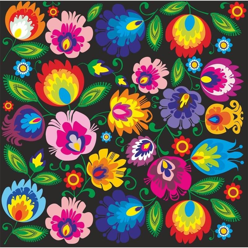 Naklejka ludowa kwiaty łowicz czarna