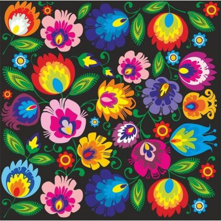 Naklejka ludowa kwiaty łowicz czarny