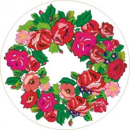 Folk naklejka okrągła róże podhale