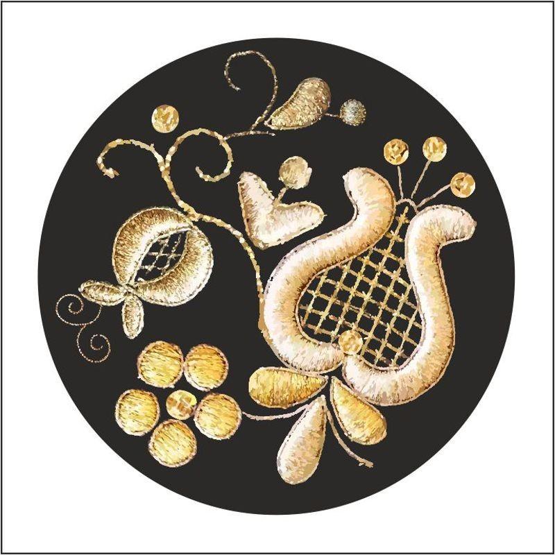 Folk naklejka okrągła kaszubska złotnica