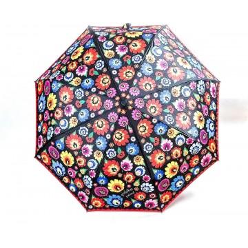 Ludowy parasol kwiaty łowickie z czerwienią