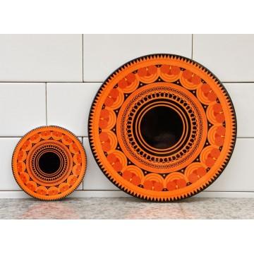 Podstawka okrągła pod garnek pomarańcz folk