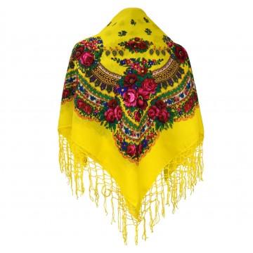 Ludowa chusta kwiatowe motywy żółta