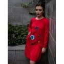 Kaszubska sukienka czerwona malowana