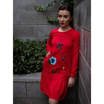 Folk sukienka kwiaty kaszubskie malowana