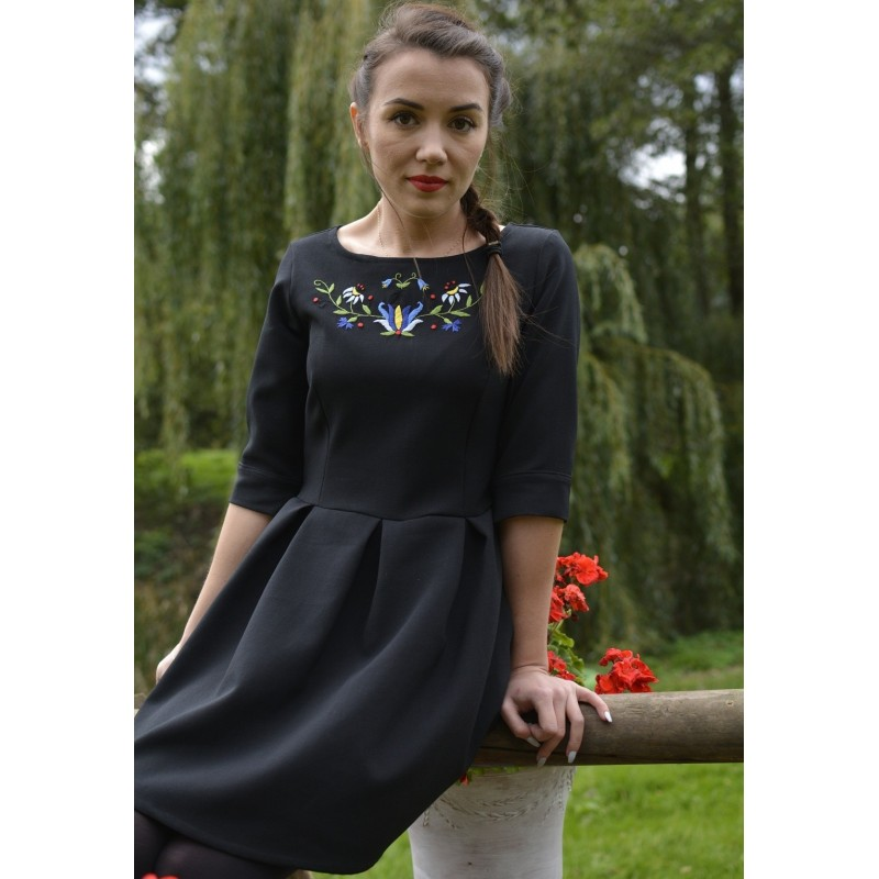 Folk sukienka kwiaty kaszubskie haft czarna