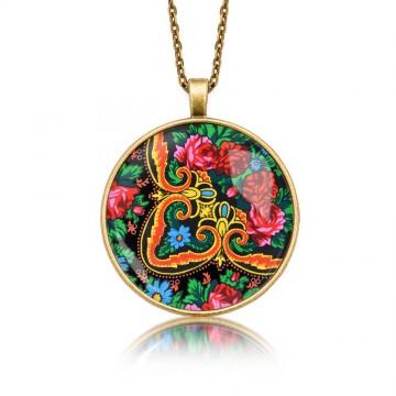 Ludowy medalion kwiaty
