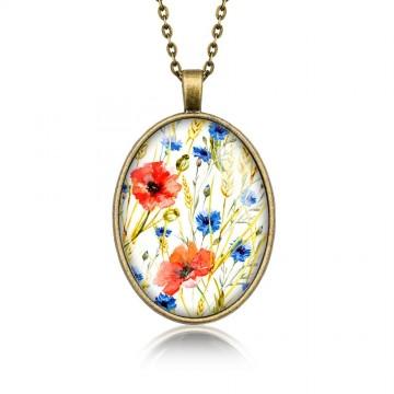 Medalion owalny wzory kwiatowe: maki i chabry