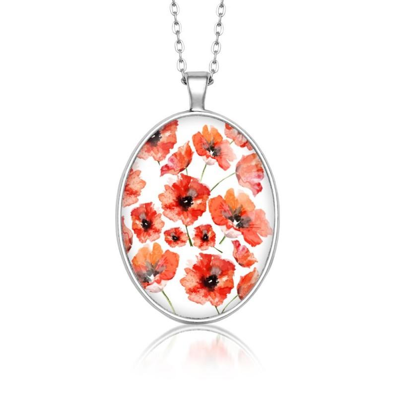 Medalion owalny kwiatowy maki