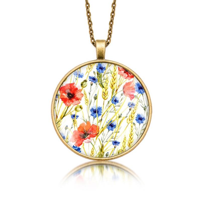 Medalion okrągły motyw kwiatowy maki i chabry